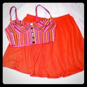 NEW S/M jersey circle skirt & bralette crop top